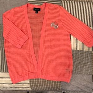 AB Studio orange short sleeve cardigan